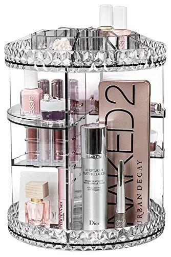 Sorbus® Make-up-Organizer, 360° drehbar, verstellbar, für Kosmetik, Toilettenartikel und mehr - ideal für Waschtisch, Badezimmer, Schlafzimmer, Schrank, Küche, farblos, 10