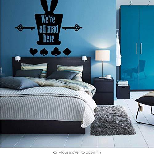 re Cat Wandaufkleber Magical Hat L Aufkleber Cartoon Rabbit Tea Time Mädchen Kinderzimmer Schlafzimmer Deko 47X42Cm ()