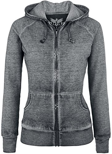 Black Premium by EMP Burnout Zipper Felpa jogging donna grigio scuro XL