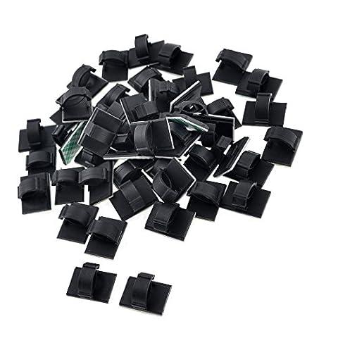 SODIAL(R) 50pcs Noir Plastique Porte-Fil 10mm Cable Attache Montage Base