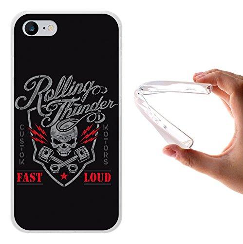 iPhone 7 Hülle, WoowCase Handyhülle Silikon für [ iPhone 7 ] Schwarzer zuckeriger Totenkopf Handytasche Handy Cover Case Schutzhülle Flexible TPU - Schwarz Housse Gel iPhone 7 Transparent D0184