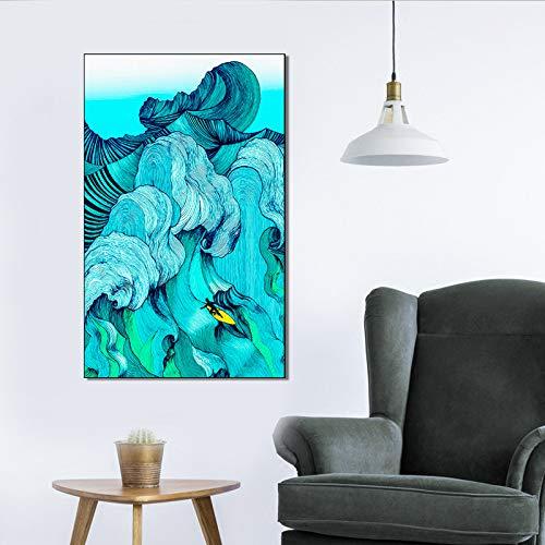 kanhaonio Rahmenlose Moderne abstrakte Blaue Seebrandungs-Dekorations-Malerei HD Hotel-Korridor A264140 * 60cm
