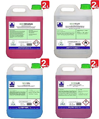 PACK ECOLÓGICO'ECOLABEL' 4X2 Litros. DESENGRASANTE 2 L. + MULTIUSOS (Cristales) 2 L. + BAÑOS (anti cal) 2L. + SUELOS 2L. ECODESGRAS + ECOSOL + ECOFELIT + ECOLUX. ECOLABEL