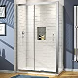 iBathUK 1200 x 760 Modern Sliding 6mm Glass Shower Enclosure Set with Tray + Free Waste