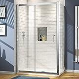1200 x 800 Modern Sliding 6mm Glass Shower Enclosure Cubicle Door + Side Panel