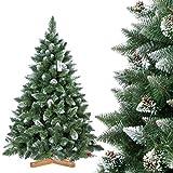 FairyTrees Arbre Sapin Artificiel de Noêl Pin, Naturel Blanc Enneigé, Matière PVC, Pommes de Pin Vraies, Socle en Bois, 180cm, FT04-180