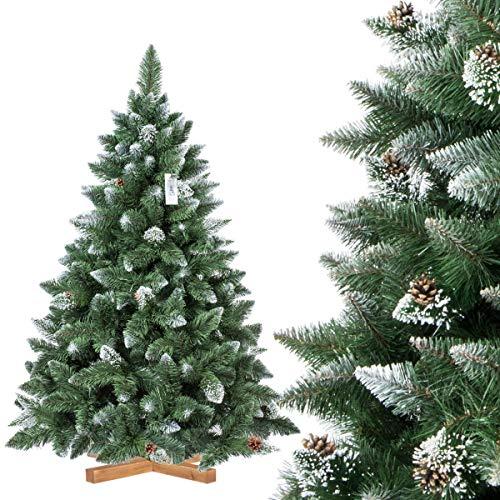 FairyTrees Sapin Arbre de Noêl Artificiel Pin, Naturel Vert, Matière PVC, Pommes de Pin Vraies, Socle en Bois, 180cm