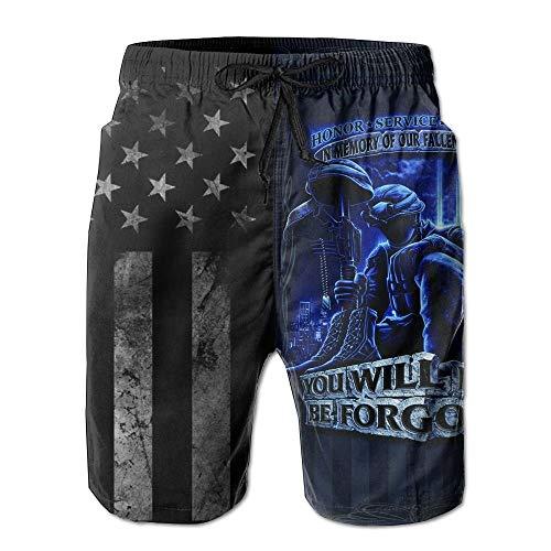 American Flag and Never Forget Fallen Soldier Men's Board Shorts Swim Trunks Beach Short XL - Fallen Flags