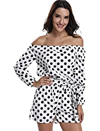 6bbb48063bb MISS MOLY Womens Playsuits Rompers Jumpsuits Ladies Off Shoulder Sexy  Strapless Long Sleeves Waist Tie