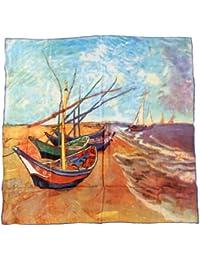 """Nella-Mode hochwertiges SEIDENTUCH Seidenschal nach van Gogh: """"Boote am Ufer"""" Tuch aus reiner Seide; 85x85 cm"""