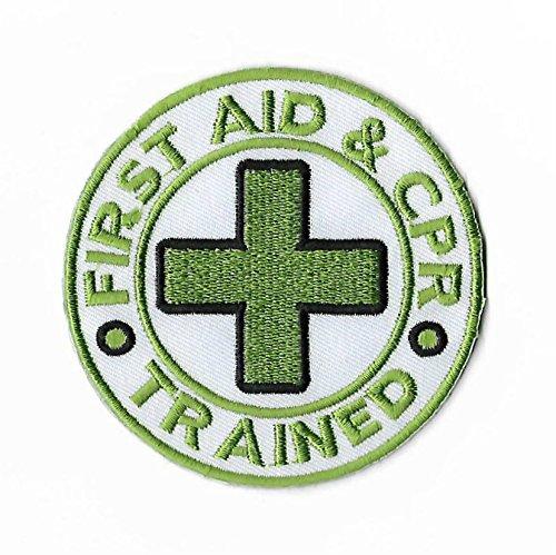 Erste Hilfe & CPR ausgebildeten Patch grün gesticktes Eisen auf Abzeichen 8cm Medic zertifiziert DIY Aufnäher