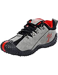 Azotic Men's Grey & Red Synthetic Leather Lace-Up Casual Shoes