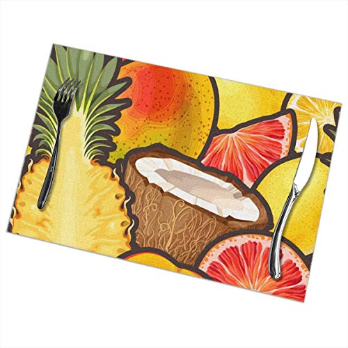 Aeykis Yellow Exotic Friut Placemats Set of 6 for Dining Table Washable Polyester Placemat Non-Slip Heat Resistant Kitchen Table Mats Easy to Clean 1218inch 49ers-pet-set