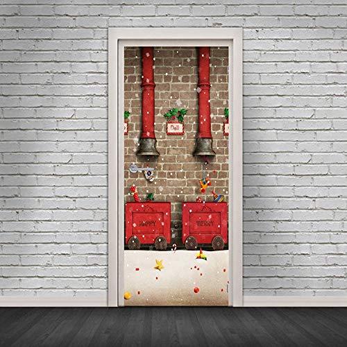 XIAOXINYUAN 3D Christmas Schornstein Tür Aufkleber DIY Abnehmbare Selbstklebende Wasserdicht Wandbilder Tapeten Für Die Schlafzimmer Tür Home Decor