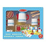 Melissa & Doug Wooden Steep and Serve Tea Set (Pretend Play, All-Wood Tea Service, Brightly coloured Tags, 30.48 cm H x 38.1 cm W x 8.89 cm L)