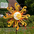 Metall Windrad - Sunface - wetterfest, handbemalt - Windrad: Ø52cm, Tiefe: 15cm, Gesamthöhe: 160cm - inkl. Standstab von Colours in Motion auf Du und dein Garten