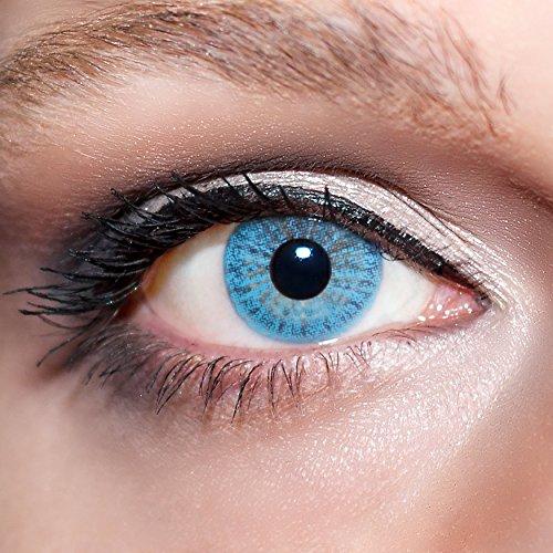 KwikSibs farbige Kontaktlinsen, hellblau, 1-farbig, weich, inklusive Behälter, BC 8.6 mm / DIA 14.0 / -3,50 Dioptrien, 1er Pack (1 x 2 Stück)