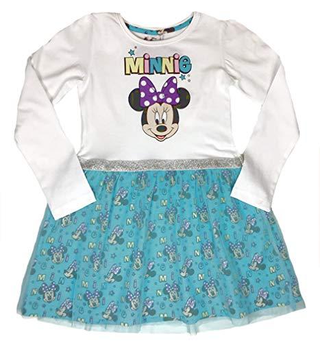 (Disney Minnie Mouse Mädchen Tüll-Kleid weiß/türkis Gr. 98,104,110,116,122,128 (104))