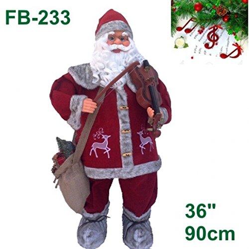 timar Babbo Natale con Fisarmonica Pupazzo Musicale con Battito della Mano Rosso da 91 cm