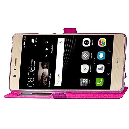 Huawei P9 Lit Case, Gitter Weaving Pattern Case PU Ledertasche mit Card Slot Foto Frame Flip Stand Case Soft TPU Abdeckung für Huawei P9 Lite ( Color : Rose , Size : Huawei P9 Lite ) Rose