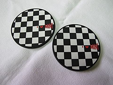 (2) Checkered Race Cup Coaster Cover Pad for 2006' Mini