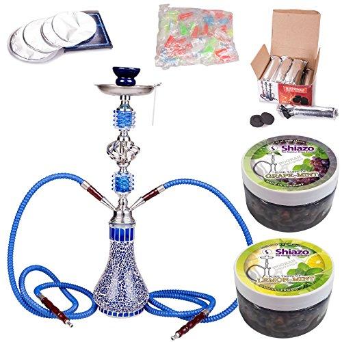 NOVESTE 55cm Blau Shisha Wasserpfeife Set, inkl. Hookah, 1KG Shishakohle, 100x Tinfoil, 100x Mundstücke, und 200gr Shiazo Dampfsteine