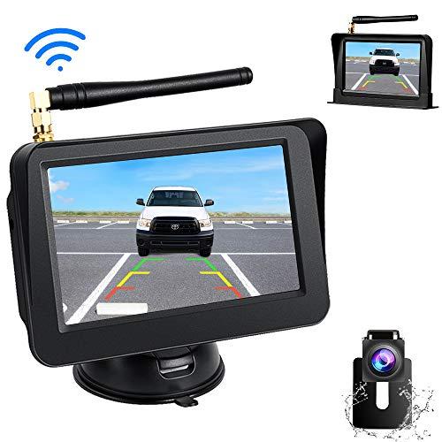 Directtyteam Drahtlos Digitale Rückfahrkamera Set, 5 Zoll LCD-Monitor Kabellose Einparkhilfe mit Eingebautem Funksender IP68 Wasserdicht Nachtsicht Funk Auto-Kamera für SUV, Van, KfZ, Anhänger