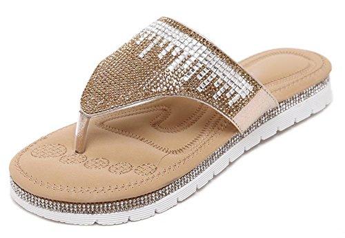 Sommer Sandalen Diamant Klippzehe flache Schuhe Gold
