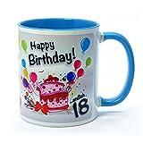 Geburtstagstasse Happy Birthday - Endlich 18 - lustiger Kaffeebecher, ein tolles Geburtstagsgeschenk zum 18. Geburtstag, originelle Geschenke kommen Immer gut an (hellblau)