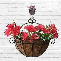 pushfocourag Hanging Coconut Fiber Flower Plant Pot Semicircular Basket Iron Art Garden Decor for Garden, Patio, Yard, Home, Chrismas Tree, Parties