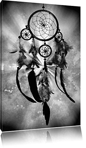 Indianischer Traumfänger Kunst B&W, Format: 100x70 auf Leinwand, XXL riesige Bilder fertig gerahmt mit Keilrahmen, Kunstdruck auf Wandbild mit Rahmen, günstiger als Gemälde oder Ölbild, kein Poster oder Plakat