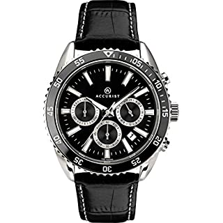 Accurist Gents Analogue Quartz Watch With Black Dial And Black Leather Strap 7229