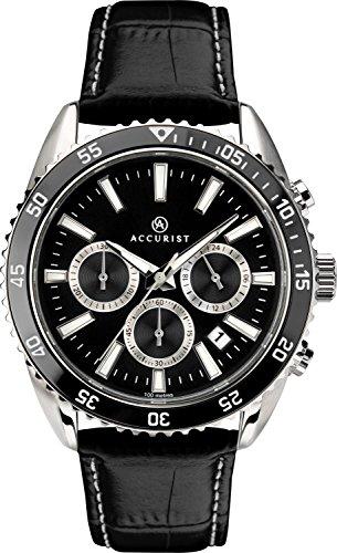 Accurist montre à quartz analogique pour homme avec cadran noir et bracelet cuir noir 7229