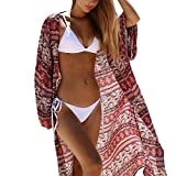 Bikini Cover Up Longra Damen Kimono Cardigan Boho Chiffon Sommerkleid Beach Cover up im schönen Ethnoprint Frauen Bikini Strandtunika Bluse Chiffon Strandkleid Lang (Multicolor, M)