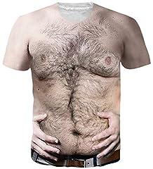 Idea Regalo - Loveternal Unisex Realistico Petto Peloso Maglietta 3D Stampato Camicia Manica Corta Brutto T-Shirt per Uomo Donna XL