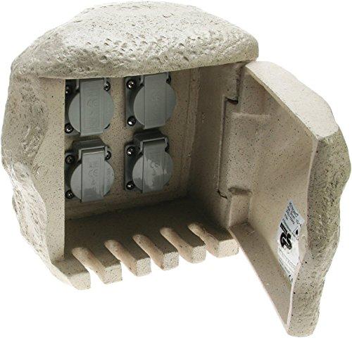Heitronic Außenleuchte 4fach Steinsteckdose mit Anschluss für Erdkabel Grau IP44 | 36314