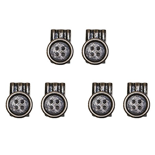 Brucle bottoni con fissaggio a clip per bretelle, colore vintage bronzo invecchiato