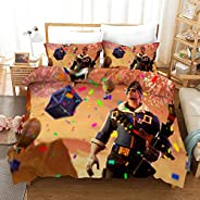 Vampsky 3 Piece Bedding Set Cartoon Anime 3D Printed Bedding, Classic Shooting Game Fortnite Soft Microfiber Bedding Set, Ot