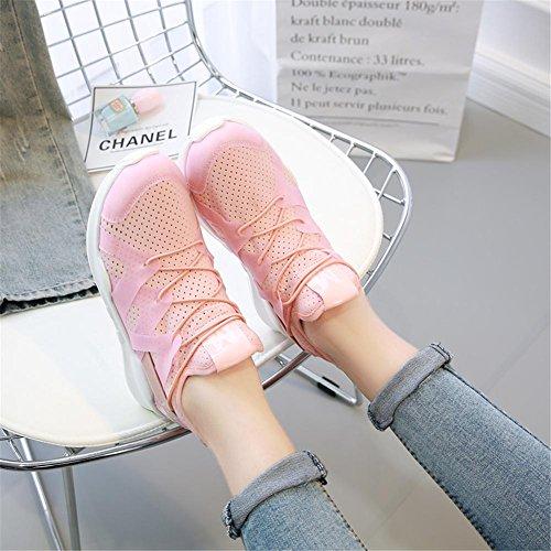YEEY Sportschuhe Runners für Frauen Flat Heel Round Toe lace-up Running Gymnastik Light Soles Casual atmungsaktiv bequeme Schuhe Pink