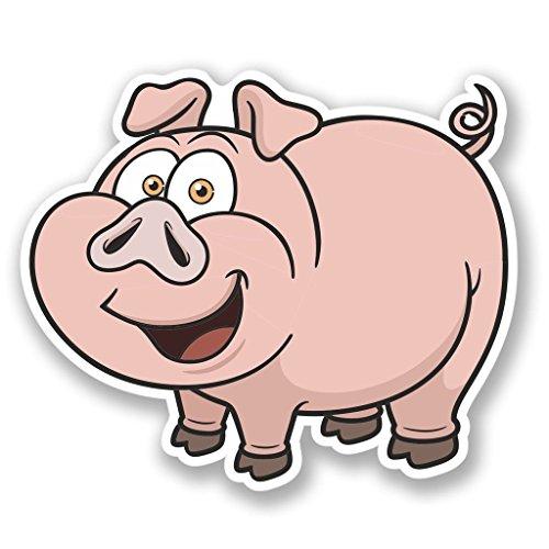 Preisvergleich Produktbild 2 x 20cm/200mm Glückliche Schweine Vinyl SELBSTKLEBENDE STICKER Aufkleber Laptop reisen Gepäckwagen iPad Zeichen Spaß #4445