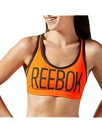Reebok Hero - Sujetador deportivo Mujer - Running Gimnasio Fitness Sin mangas - Naranja - M