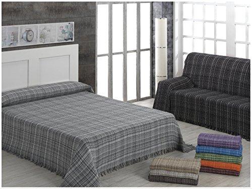 ADP Home - Plaid/Colcha Multiusos 'JASPEADO' Ideal para Cama o Sofá (medida: 180X260 cm), NARANJA