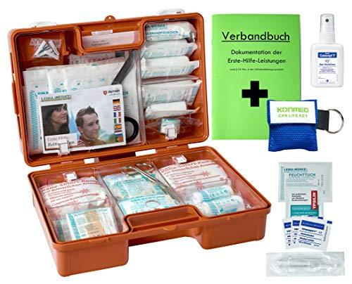 Erste-Hilfe-Koffer M2 PLUS für Betriebe DIN 13157 EN 13157 Stand 2013 incl. Notfall-Beatmungshilfe, Verbandbuch & Desinfektion
