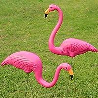 HomeZone® 2Pcs Plastic Pink Flamingo Garden Ornaments Lawn Bird Figurine Flamingo Statue Sculpture Garden Party Pink Garden Decor
