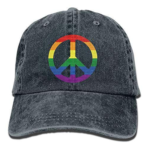 Xdevrbk Regenbogen-Flaggen-Friedenszeichen-Stolz-Unisexcowboyhut personalisiert für Mann und Frau New10