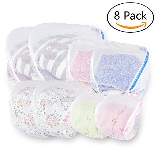 Wäschenetz für Waschmaschine, 8 Stück Wäschebeutel Set mit Reißverschluss, einzig Kugelform Wäschesack, Wäschetasche für BH, Schuhe, Unterwäsche, Socken, Pullover, Kleidung von Zebrum