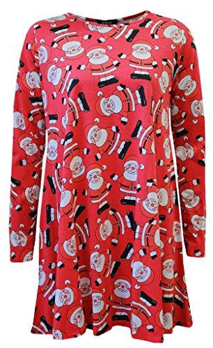 Oops Outlet Pour Femmes Noël Robes À Manches Longues Femmes Olaf Santa Cadeaux & Cloches Bonhomme De Neige Noël Swing Grande Taille 8-26 Red Santa