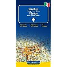 Vénétie (Venise, Vérone, Belluno) - Carte régionale Italie (échelle : 1/200 000)