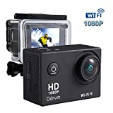 ODRVM Action Sports Camera Wi-Fi 12MP 1080P Waterproof 30m 2.0'' LCD 170° Wide-Angle 2 Batteries with Portable Package Case and Kit of Accessories For Skiing Surfing Diving Swimming Skating and Other Extreme Sports
