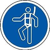 ISO Safety Sign Label–International Wear Sicherheit Geschirr Symbol Sticker Selbstklebend–100mm Durchmesser